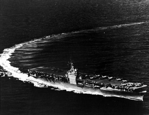 Aircraft carrier USS Ranger CV-4 making a tight turn to port, 1941.
