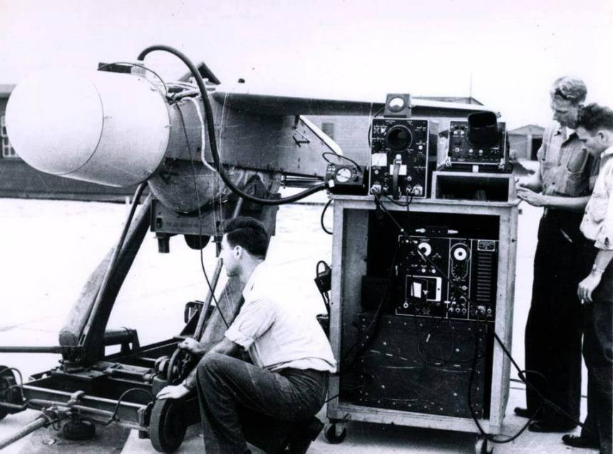 BAT Missile is given a pre-flight checkup 16 October 1946. National Archives photograph 80-G-703165.
