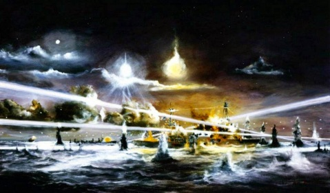 Battle of Sunda Strait, 28 February – 1 March 1942. Painting by John Hamilton depicting USS Houston (CA 30) in her final action with Japanese forces