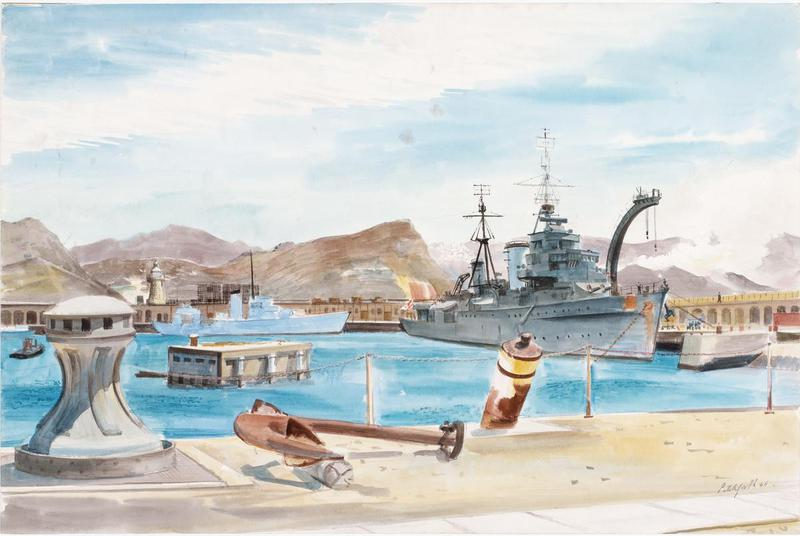 Cruiser HMS Enterprise at Simonstown, South Africa: Christmas 1945. Enterprise (D52) was an obsolete 7500-ton WWI-era Emerald-class light cruiser brought out of retirement during WWII and used for escort duties and naval gunfire support, firing over 9,000 rounds on D-Day alone. Ironically, the old behemoth sank a German torpedo boat with a torpedo, which is something I didn't know was even possible. When Pitchforth ran across her, she was in the last days of her service, helping return British troops from Asia and Africa before being broken up. Pitchford was in South Africa at this time recovering from his own war aliments. In many ways, when he painted this work, Pitchforth and Enterprise were the same.