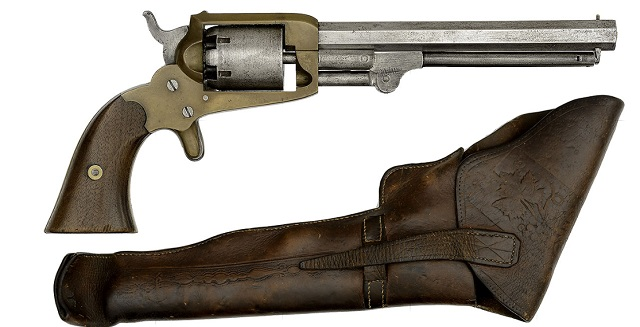 Extremely rare Confederate Cofer Third Type Revolver in its original holster as captured by 11th Maine Captain S.H. Merrill. Just 266 Cofer revolvers were picked up by the Confederate government and only 15 are believed to still exist.