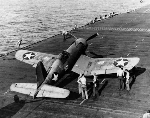 F4U-1 Corsair 82 of VF-10 on the flight deck of the aircraft carrier USS Enterprise CV-6 – March 20, 1943. VF-10 later switched to Intrepid in 1945