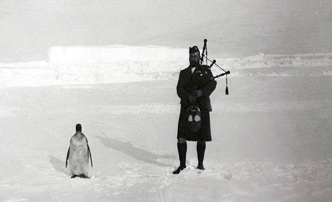 Gilbert Kerr, a member of the Scottish National Antarctic Expedition serenading an Emperor penguin, 1904