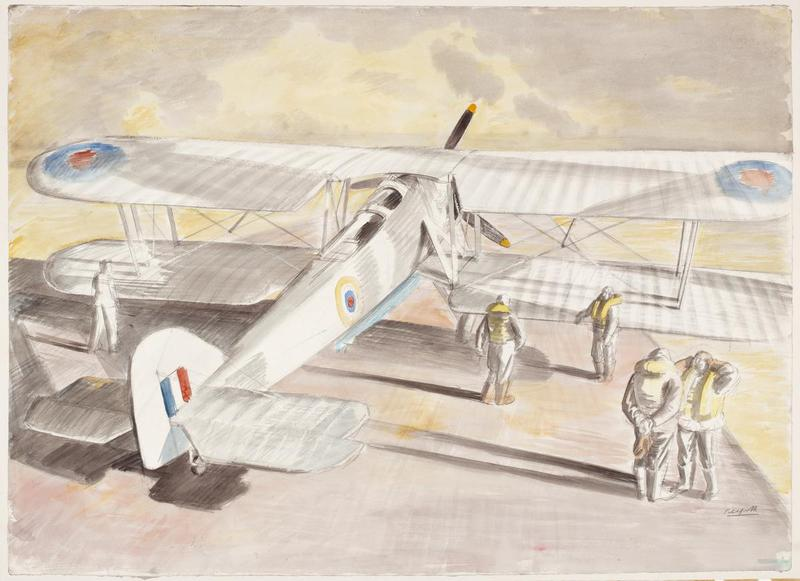 grey-coloured Swordfish sitting on a runway, facing away from the artist Pitchforth, Roland Vivian note the contrasting shadows