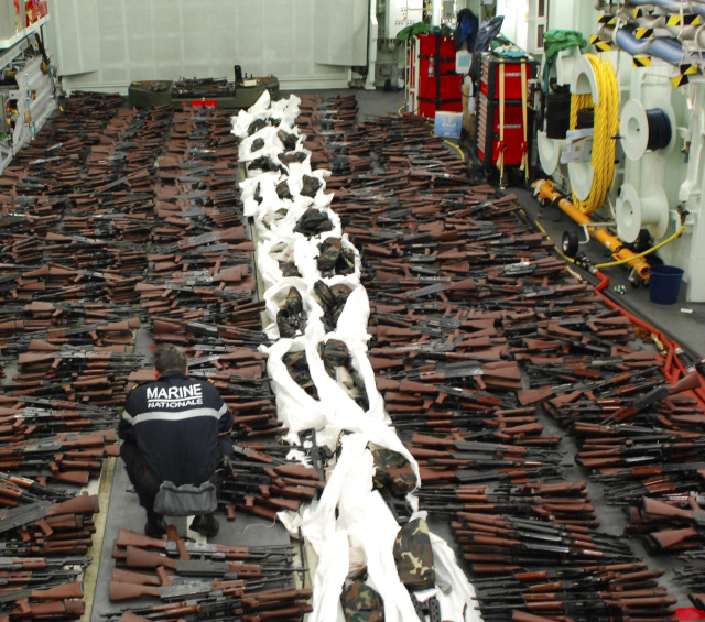 Guns seized by the French Navy on March 20