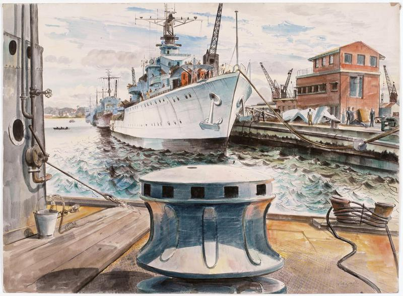 HMS Eskimo and other Destroyers Fitting Out at Durban. Note how the bollard frames the work and if you didn't know better, would think is the subject. Eskimo (F75) was a Tribal-class destroyer that was a bruiser. She fought in Norway (losing her bow at Narvik), the Mediterranean (being blown apart by German dive-bombers), the English Channel and in Burma. She chalked up U-971.