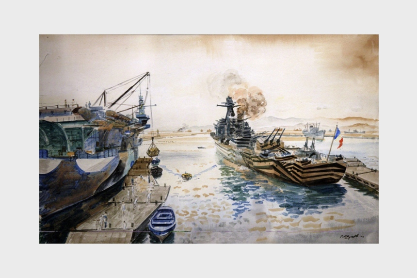 Loading an English Carrier and the French Cruiser 'Gloire' at Algiers. This watercolor is particularly interesting for its depiction of 'dazzle' painting, a technique designed to disguise the hulls of ships and render them less visible as targets. On 18 September 1940, the 'Gloire' was intercepted by the British and brought to port in Casablanca where she was neutralized.