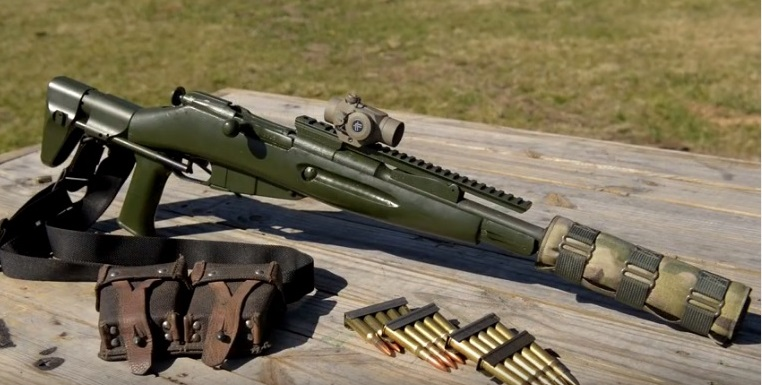 mosin sbr with 10 inch barrel AAC 7.62-SDN-6 suppressor Vortex Sparc II optic set up scout rifle style iv8888