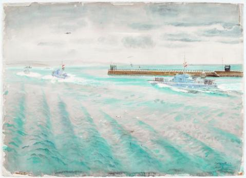 Motor Gun-boats going on Operations 1943 note the calm turquoise sea