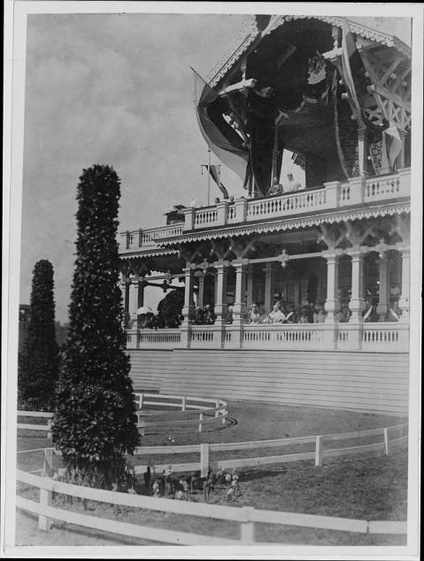 At the royal pavilion on the Champs de Mars, Moscow Russia circa 27 May 1898. Rear Admiral Thomas O. Selfridge Jr., USN shown with the tsar and tsarina. NH 1906 Naval History and Heritage Command