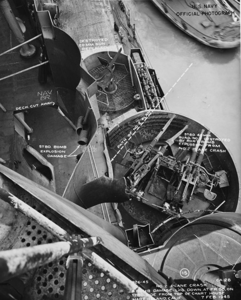 View of wrecked 40mm quad mount and other kamikaze damage by the bridge received January 1945 in Lingayen Gulf. Taken at Mare Island, 7 February 1945. Description: Catalog #: NH 92367