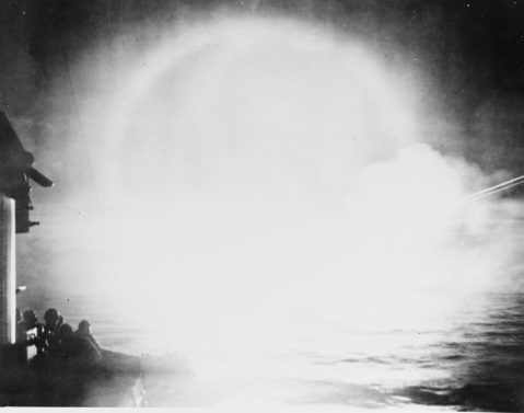 View of bombardment in a fog, Aleutians. Probably taken during Attu Operation, May 1943. Description: Catalog #: NH 92379