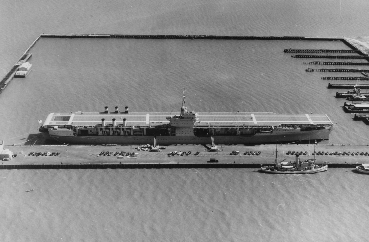 At Norfolk Naval base, Virginia, on 7 June 1934 just three days after joining the fleet, she would land her first plane in two weeks. Photographed from a USAAC plane. Description: NHHC Catalog #: NH 93546
