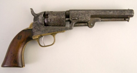 "COLT 1849 POCKET REVOLVER. SIX SHOT. OCTAGONAL BARREL. ON LEFT SIDE OF FRAME IS PRINTED ""COLTS PATENT"" SERIAL NUMBER ""75447"" PRINTED IN 4 PLACES. WALNUT GRIP, BRASS TRIGGER GUARD. BRASS BACK-STRAP DOWN BACK OF GRIP HAS 'T.O. SELFRIDGE, U.S.N., SEPT. 1861"" INSCRIBED ON IT IN FANCY SCRIPT, SLIGHTLY WORN. NOTE; FUNCTIONAL MOVING PART"