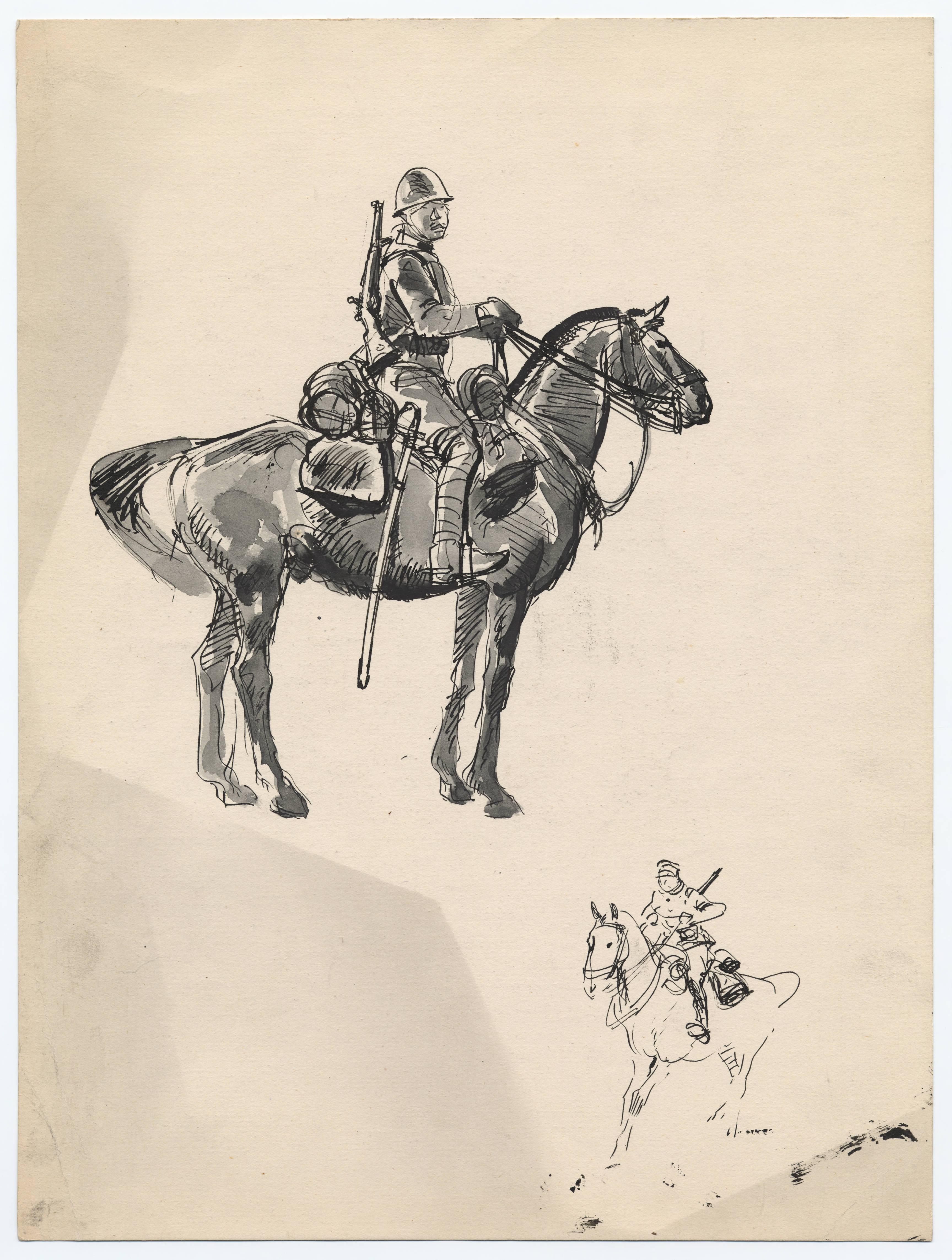 Chinese soldier on horseback