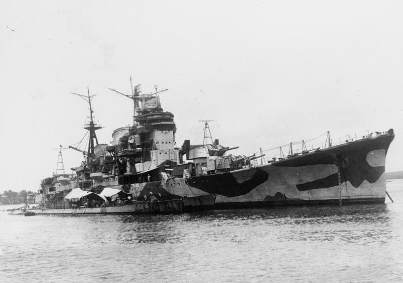 Surrendered Japanese cruiser Myōkō moored at Seletar alongside submarines I-501 and I-502