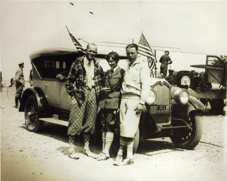 """The crew of Miss Doran, left to right, John """"Auggy"""" Pedlar, Mildred Doran and Lieutenant Vilas R. Knope, United States Navy. (San Diego Air and Space Museum Archives)"""