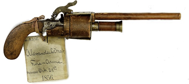 The unique, one-of-a-kind wooden model for the LeMat revolver submitted to the U.S. Patent Office for protection against competitors.