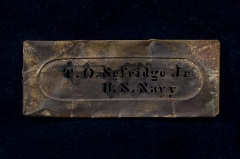 Thomas O. Selfridge stencil recovered from the Cairo in the 1960s on display at the Vicksburg military park