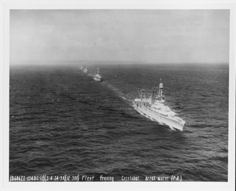 Northampton-class sister USS Chicago (CA-29) leads CruDiv5 into the Caribbean, Canal Zone, on 4 May 1934, fleet problem 15. Following are USS Louisville (CA-28), USS Portland (CA-33), and USS Indianapolis (CA-35)