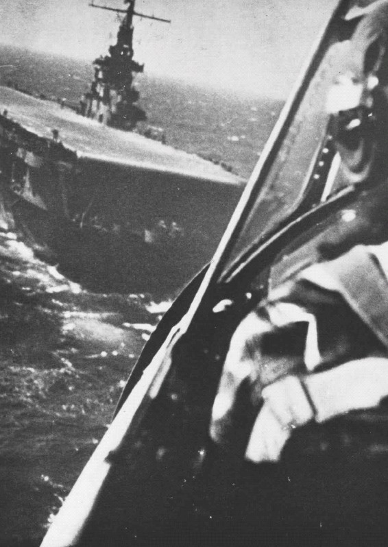 View from a Grumman F6F-5 Hellcat as it approaches the U.S. aircraft carrier USS Ranger (CV-4) in 1944-45, when Ranger was used as a training carrier.