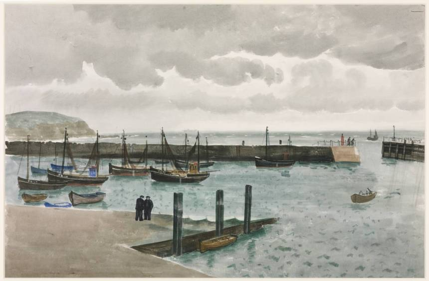 View of Harbour - Folkestone circa 1920 Roland Vivian Pitchforth 1895-1982 Bequeathed by the artist 1983 http://www.tate.org.uk/art/work/T03663