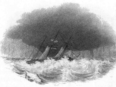 "Sketch of the sloop-of-war USS Vincennes running before a gale amid the Antarctic ice. From The Narrative, courtesy Smithsonian Institution Libraries as found in ""Sea Of Glory: The Epic South Seas Expedition 1838-42"" by Nathaniel Philbrick. Robert Hurst/Navsource"