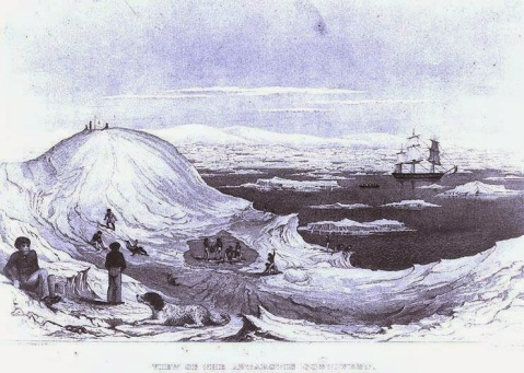 """View of the Antarctic Continent"". Line engraving by Jorban & Halpin, after a sketch by Lieutenant Charles Wilkes, USN, depicting men and dogs of the U.S. Exploring Expedition ""ashore"" on the ice, with the Antarctic mountains in the distance, circa January-February 1840. USS Vincennes is amid the ice flows at right. The print is copied from ""U.S. Exploring Expedition"", Volume II. US Naval History and Heritage Command photo # NH 51495."