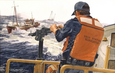 Drug Patrol Duty by Ferdinand Petrie (ID# 87942). A Coast Guardsman mans an M60 machine gun on board a cutter out of Gloucester, Massachusetts, keeping a suspected drug runner under close observation.