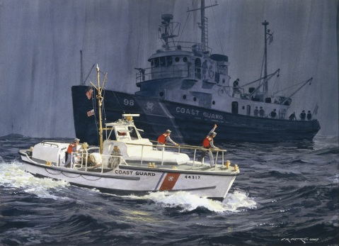 Snohomish by Ferdinand Petrie (ID# 88015). The CGC SNOHOMISH looms in the background as crew members of a 44- foot patrol boat wave in passing.