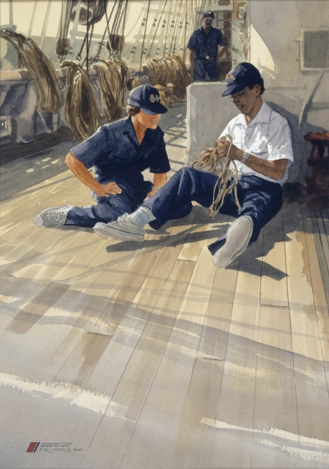 "Learning the Art of Tying Knots by Ferdinand Petrie (ID# 90405). Two young ""Coasties"" practice the skill of tying knots."