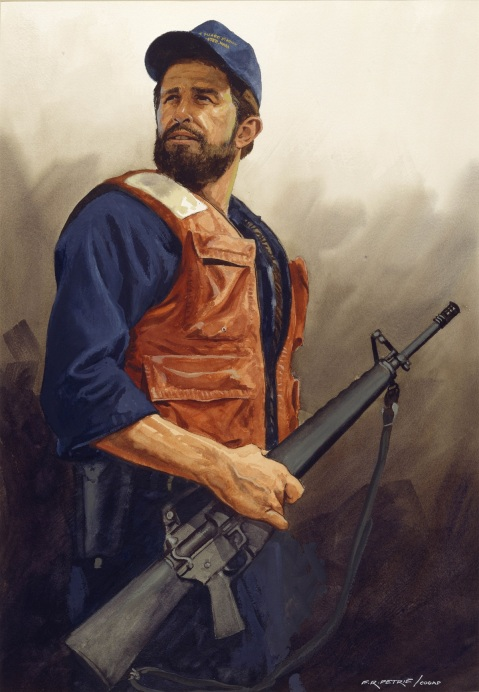 Ready for Patrol Duty by Ferdinand Petrie (ID# 88329). MK2 Rick Cremean's equipment for patrol duty consists of an M-16, a 45, life jacket, flashlight and handcuffs at Coast Guard Station, Gloucester, Mass.