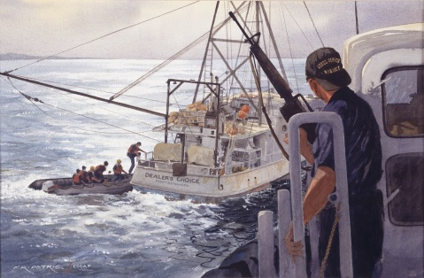 Getting Aboard from USCGC Ocracoke by Ferdinand Petrie (ID # 90233). A law enforcement team from the Cutter Ocracoke boards a suspected drug-runner's vessel in the Caribbean.