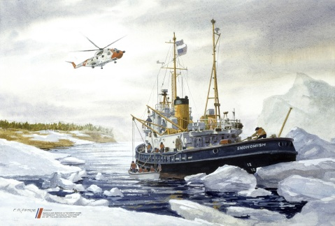"Search and Rescue on the Great Lakes by Ferdinand Petrie (ID# 89510). The Coast Guard Icebreaker SNOHOMISH prepares to cast off a small boat for a search and rescue mission an HH3F ""Pelican"" helicopter stands by to assist."