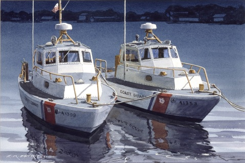 Ladies in Waiting by Ferdinand Petrie. Two small boats tied up at pier awaiting duty off Gloucester, Mass.