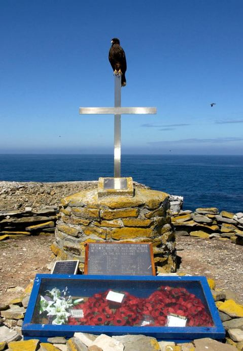 A cara cara bird perches atop the remote memorial to the 21 men of HMS Sheffield