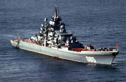 A starboard bow view of the Soviet Kirov class nuclear-powered guided missile cruiser KALININ. 1991 usn photo