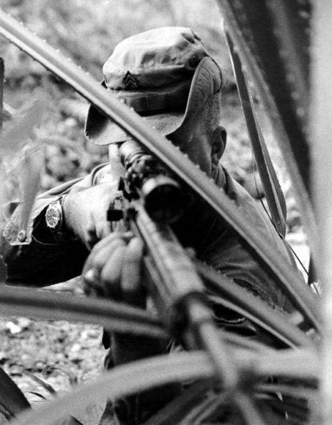 Sniper at work (SGT Waldron) via Sharpeneing the Combat Edge: The Use of Analysis to reinforce military judgement, by Lieutenant General Julian J. Ewell http://www.history.army.mil/books/Vietnam/Sharpen/ch06.htm