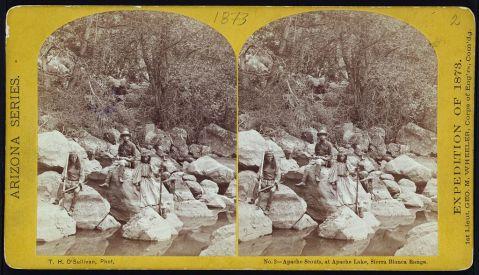 Apache scouts, at Apache Lake, Sierra Blanca Range
