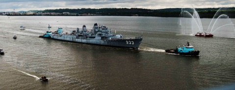 ALEXANDRIA, VA-  MAY 7:  The old Navy destroyer, the USS Barry, which has a storied history and has served as a museum ship at the Washington Navy Yard since 1983, is towed towards the Woodrow Wilson Memorial Bridge down the Potomac river out of town on Saturday, May 7, 2016 in Alexandria, VA.  The ships final destination is a ship graveyard at the former Navy base in Philadelphia. (Photos by Amanda Voisard) The former USS Barry, once a Navy destroyer, is towed down the Potomac River on its way to a ship graveyard at the former Navy base in Philadelphia. (Amanda Voisard/For the Washington Post) https://www.washingtonpost.com/local/bye-barry-washington-bids-farewell-to-an-old-destroyer/2016/05/07/cb13b034-13aa-11e6-93ae-50921721165d_story.html