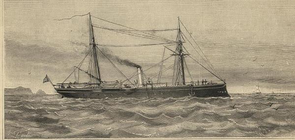 Cañonero español Elcano at commissioning. The Spanish liked dark hulls