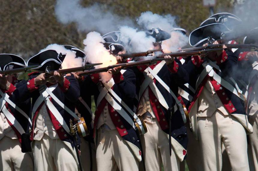 Commander in Chief's Guard performed a firing demonstration on the Lexington Green followed by a performance by The United States Army Old Guard Fife and Drum Corps, Lexington, Ma., April 16, 2016