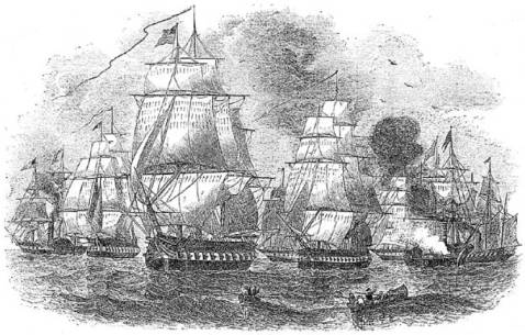 Commodore Perry's second fleet. Left to right, Susquehanna, Saratoga, Saint Mary's, Supply, Plymouth, Perry, Mississippi, Princeton-View from the vessels composing the Japanese squadron.