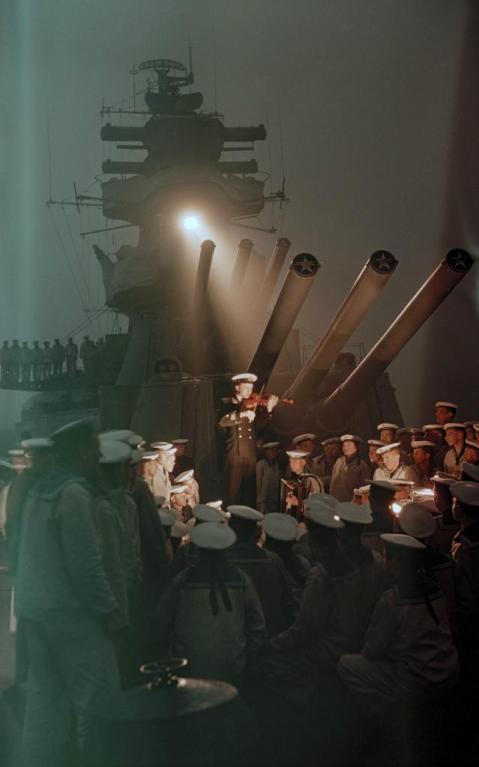 Evening on the cruiser Kalinin. The Soviet Pacific Fleet, 1955