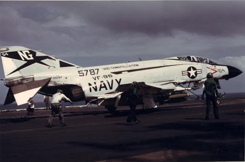 F-4J Phantom II aircof Fighter Squadron (VF) 96 pictured on a catapult on board the carrier Constellation (CVA 64) steaming in the Gulf of Tonkin in May 1972