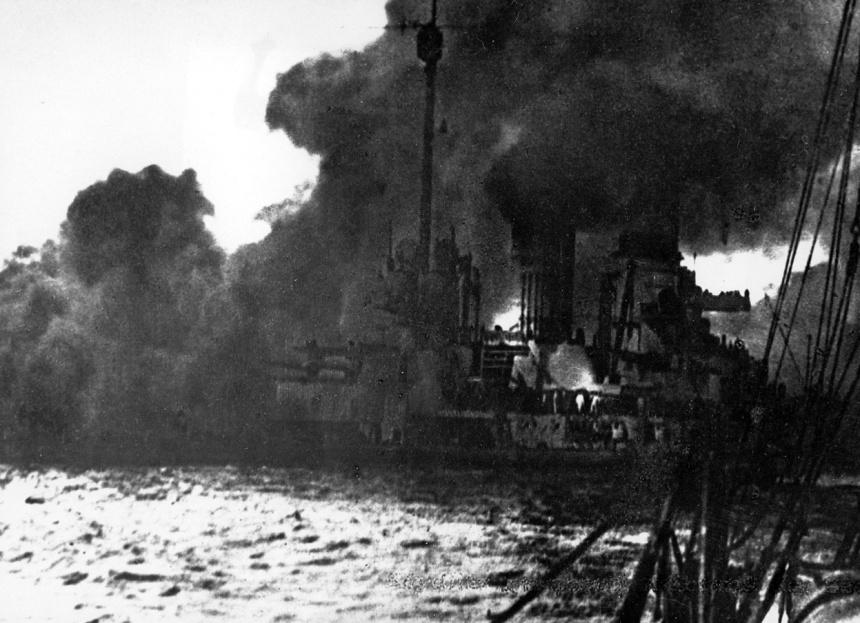 German battle cruiser Seydlitz burns in the Battle of Jutland, May 31, 1916
