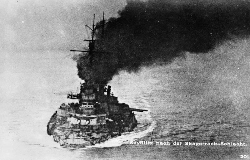 German battlecruiser SMS Seydlitz,low in the water after jtland