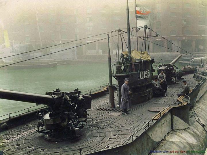 German submarine U-155 on display in St. Katherine docks, London, England, December 1918