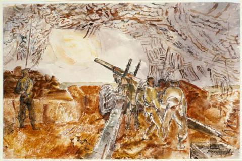 Gun-Team Firing in the Rain, Normandy June 1944