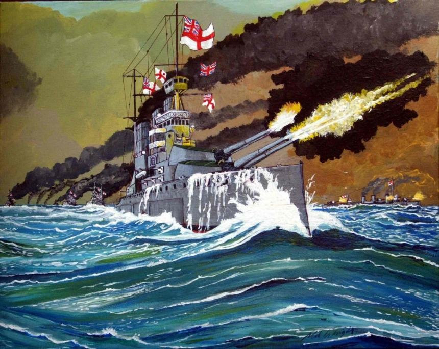 """HMS Lion at the Battle of Jutland"""" by Mal Wright"""